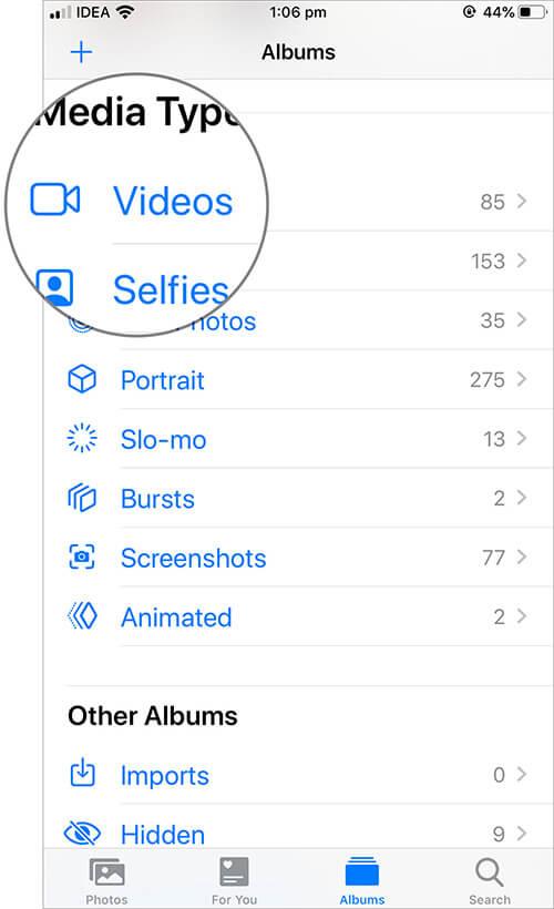 Tap on Videos folder in iOS Photos App