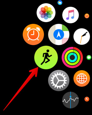Tap on Workout Icon in Apple Watch