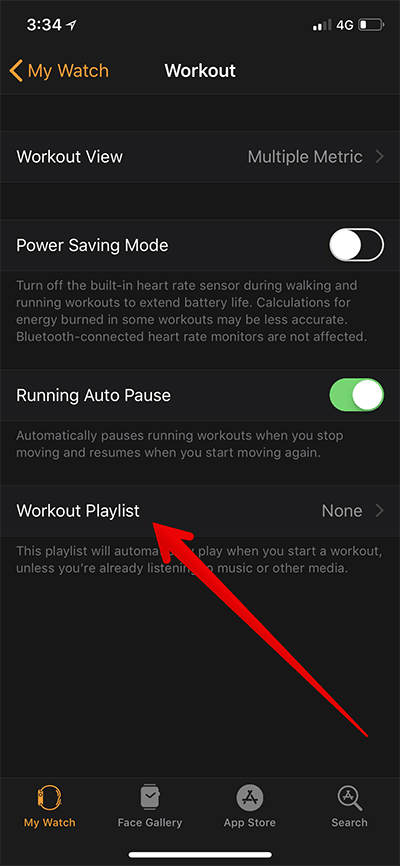 Tap on Workout Playlist in Apple Watch App on iPhone
