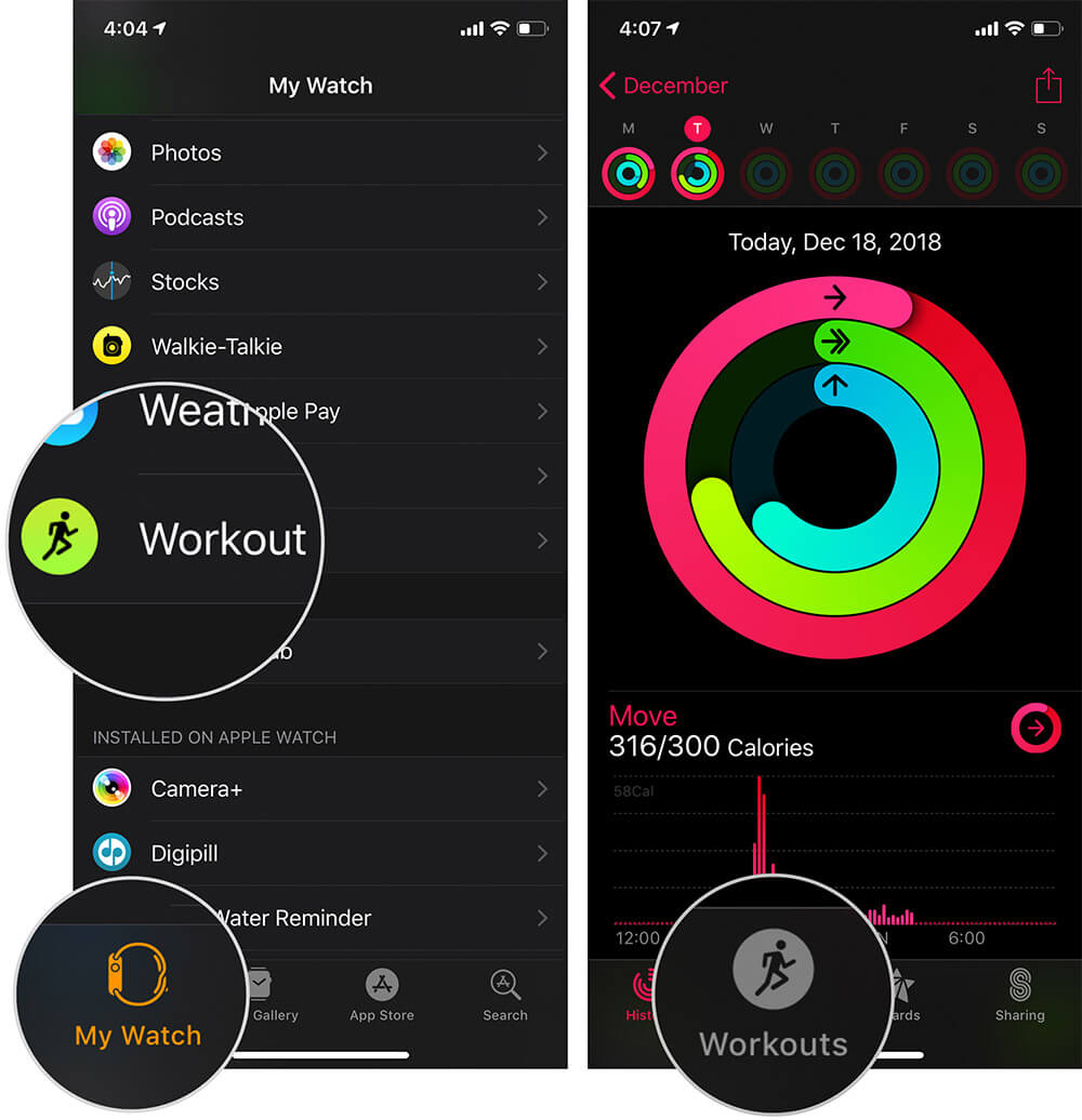 Tap on Workout in Apple Watch App on iPhone
