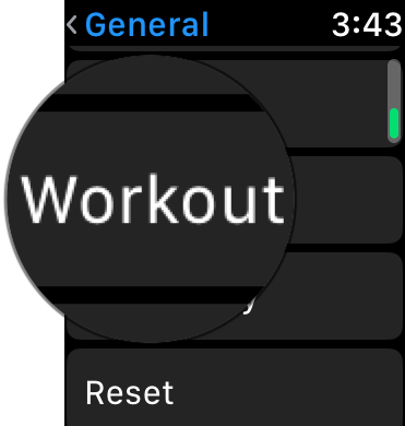 Tap on Workout in Apple Watch Settings
