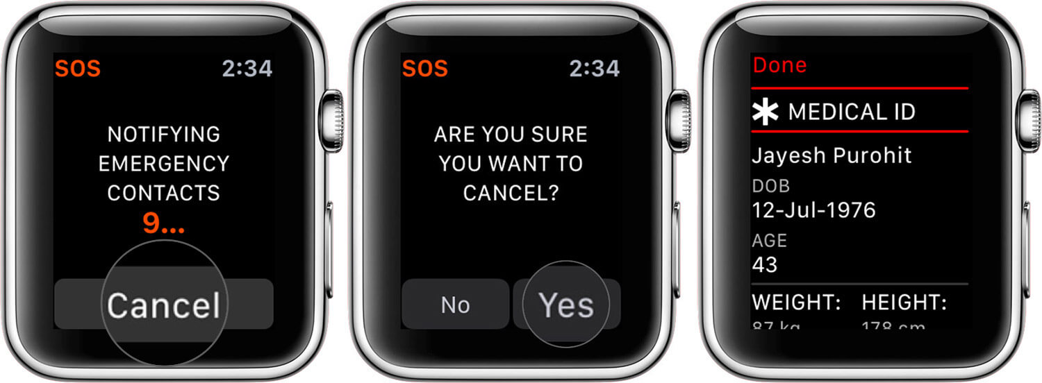 Tap on Yes to Cancel SOS Message From Apple Watch