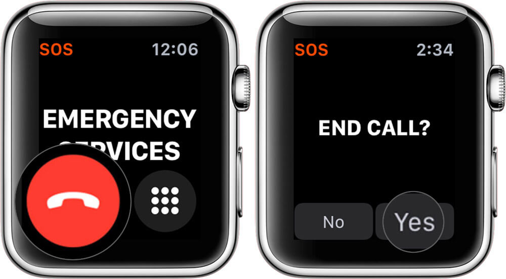 Tap on Yes to End SOS Call From Apple Watch