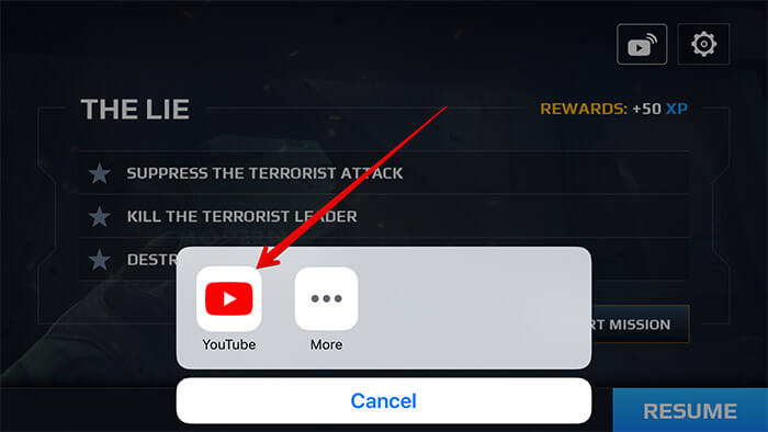 Tap on YouTube as a Broadcast on iPhone