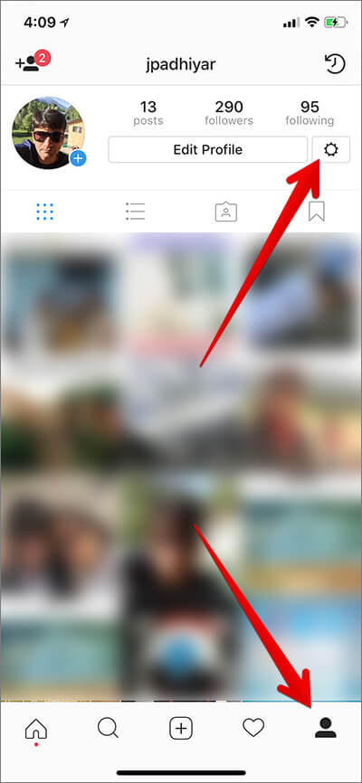 Tap on Your Profile then Gear Icon in Instagram on iPhone