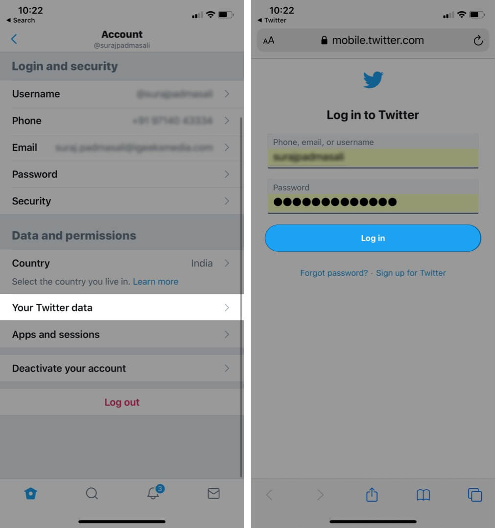 Tap on Your Twitter Data and Then Tap on Login