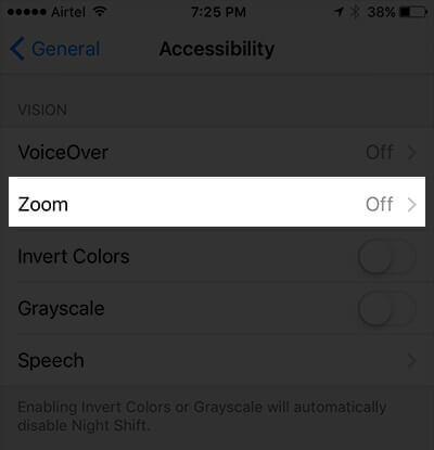 Tap on Zoom in Accessibility Settings on iPhone