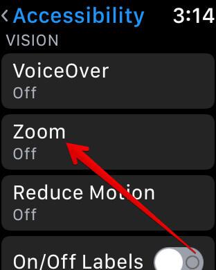 Tap on Zoom in Apple Watch Settings