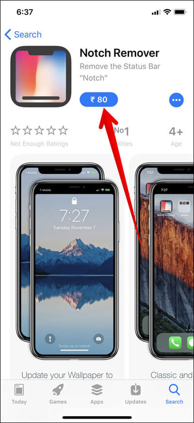 Tap on buy button in App Store on iPhone X