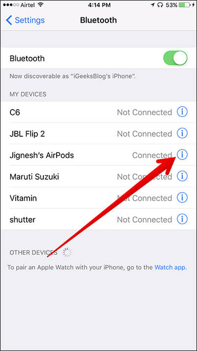 Tap on i Icon in Bluetooth for AirPods