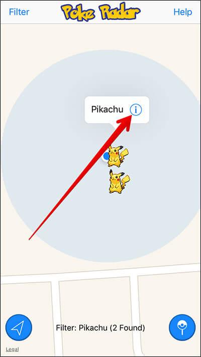 Tap on i Icon in Poke Radar iPhone App