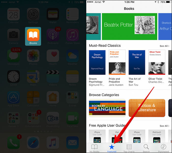 Tap on iBooks Then Featured on iPhone