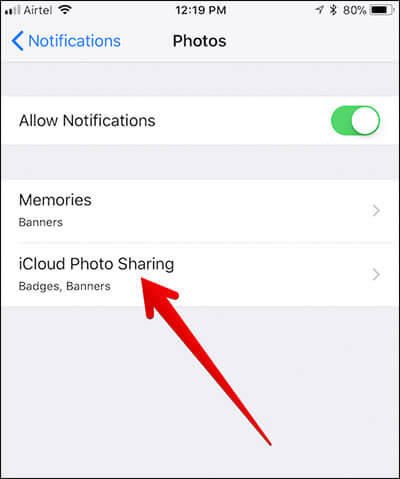 Tap on iCloud Photo Sharing in iPhone Settings