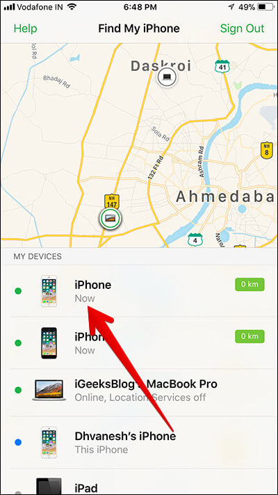 Tap on iDevice on iPhone in Find My iPhone