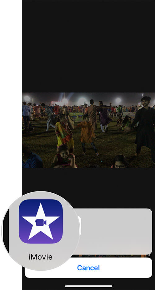 Tap on iMovie While Editing iPhone Video