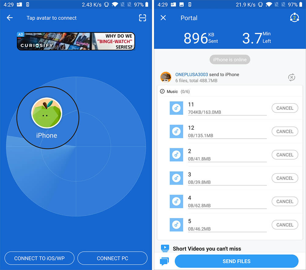 Tap on iPhone Name in SHAREit App to Transfer Music from Android to iPhone