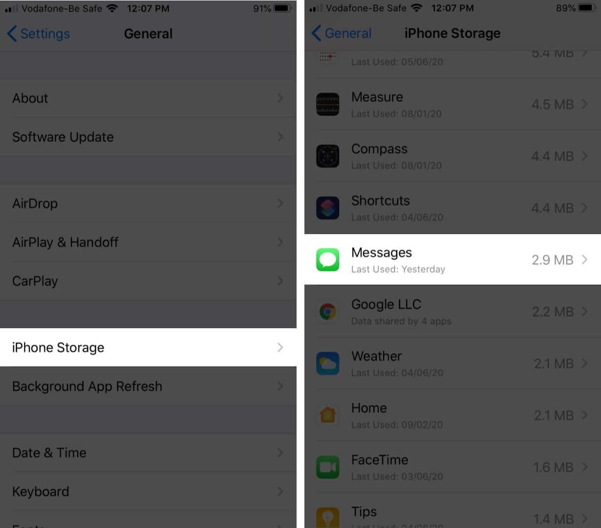 Tap on iPhone Storage and then Tap Messages on iPhone