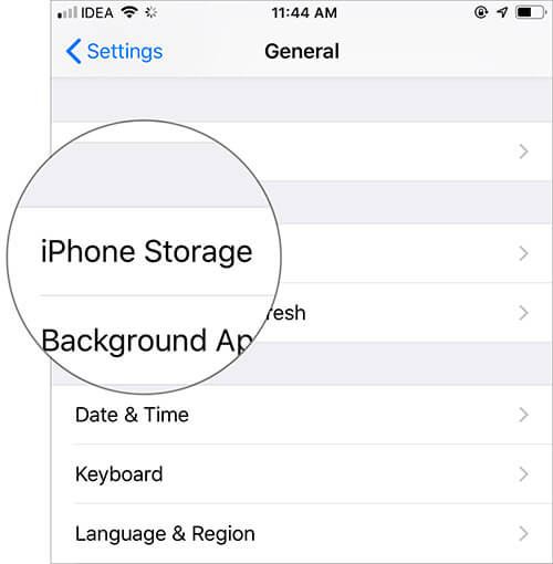Tap on iPhone Storage in Settings