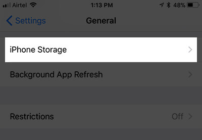 Tap on iPhone Storage in iOS 11 Settings