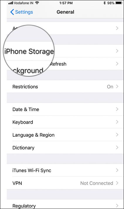 Tap on iPhone or iPad Storage