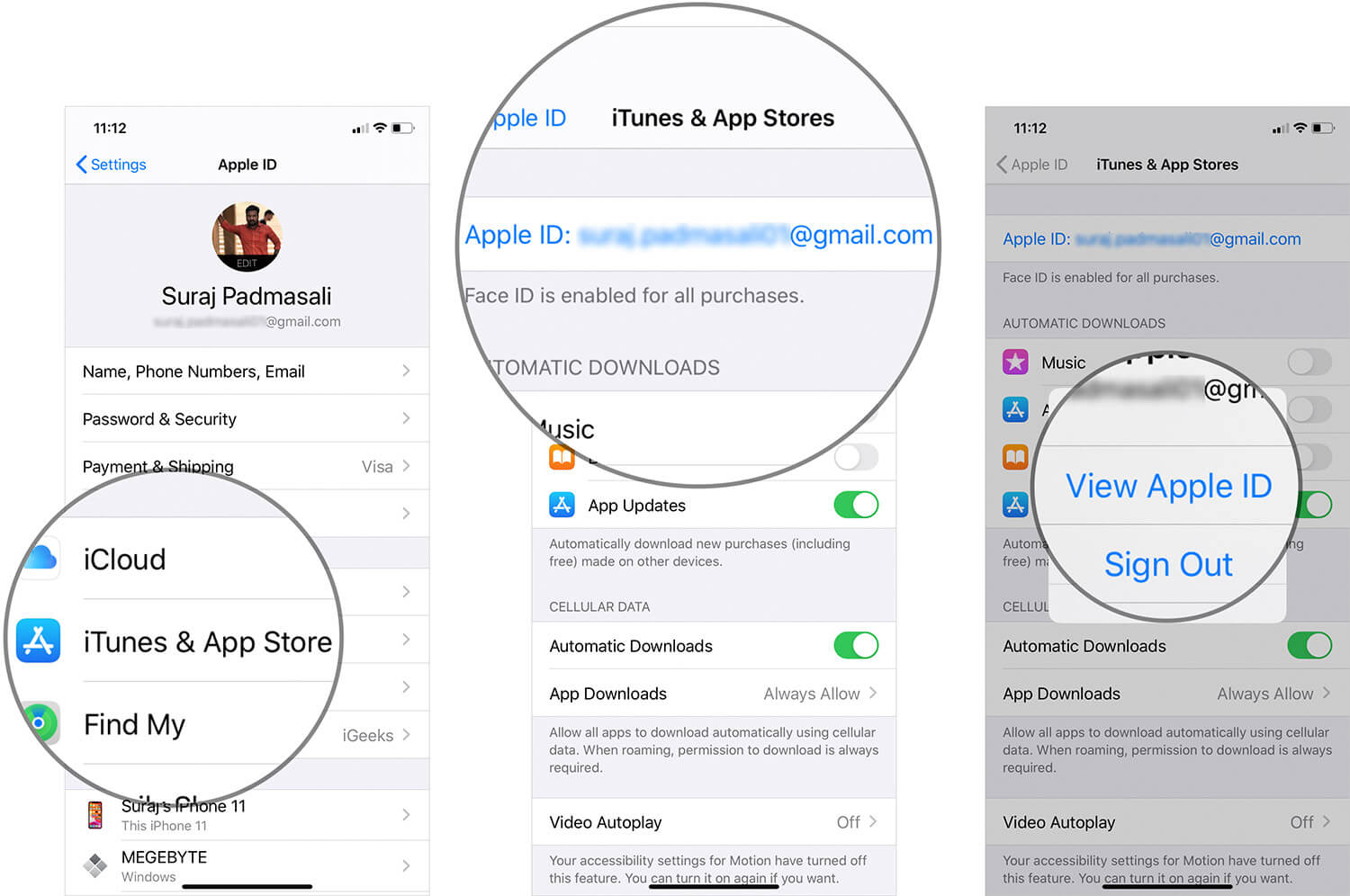 Tap on iTunes & App Store then Tap on Apple ID and Tap on View Apple ID on iPhone