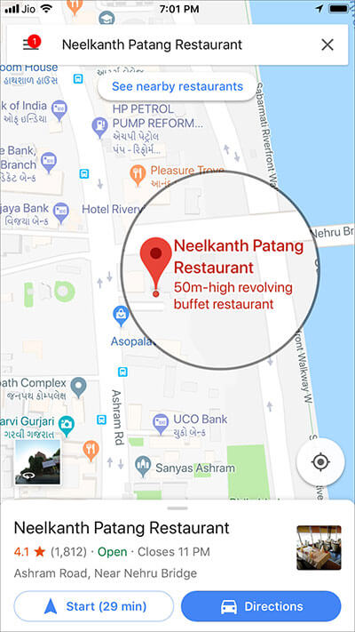 Tap on place name in Google Maps App