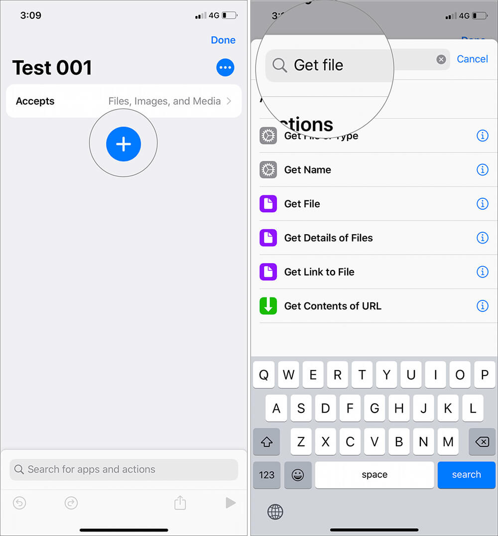 Tap on plus and search for Get details of file in Shortcuts App