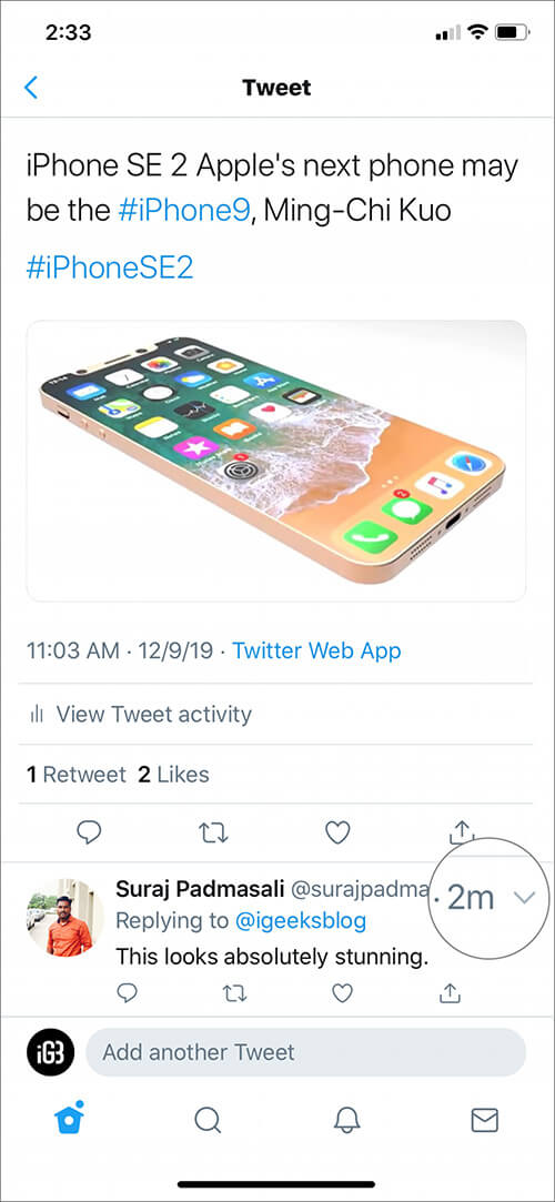 Tap on small down arrow next to person name in Twitter app on iPhone