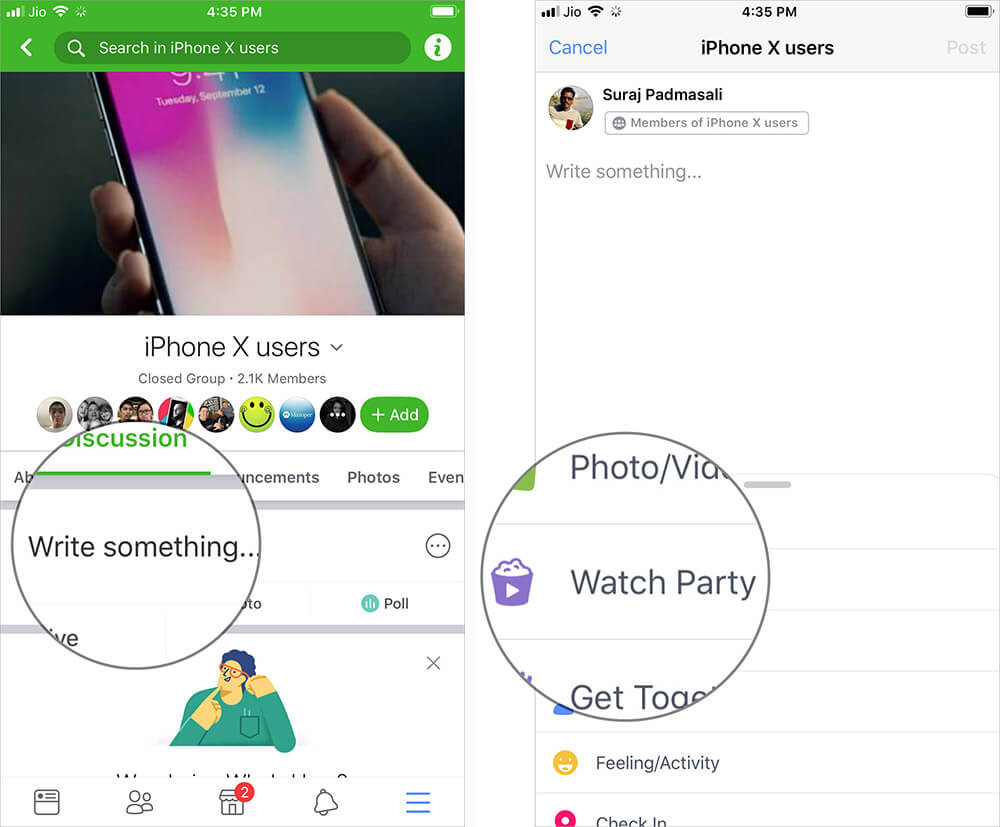 Tap on text field and Select Watch Party in Facebook App