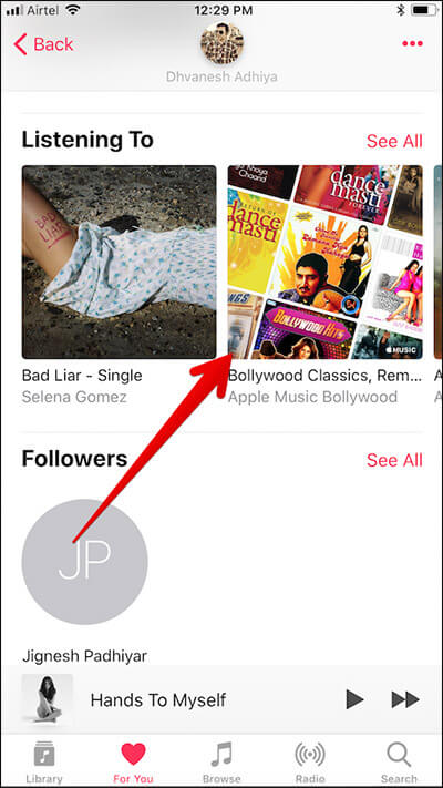 Tap on the Playlist You Want to Add in Apple Music on iPhone