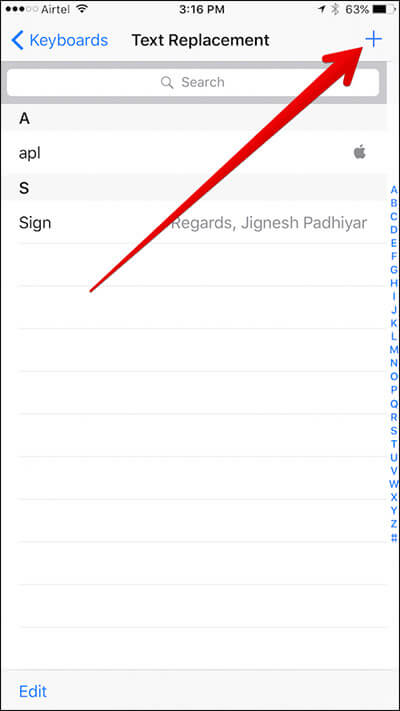 Tap on the Plus Sign in Text Replacement on iPhone