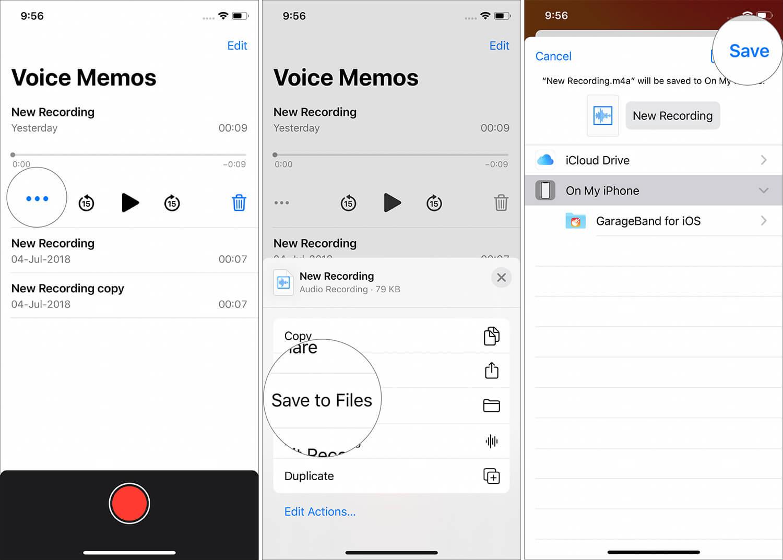 Tippen Sie auf drei Punkte und speichern Sie Dateien in der Sprachnotiz-App auf dem iPhone