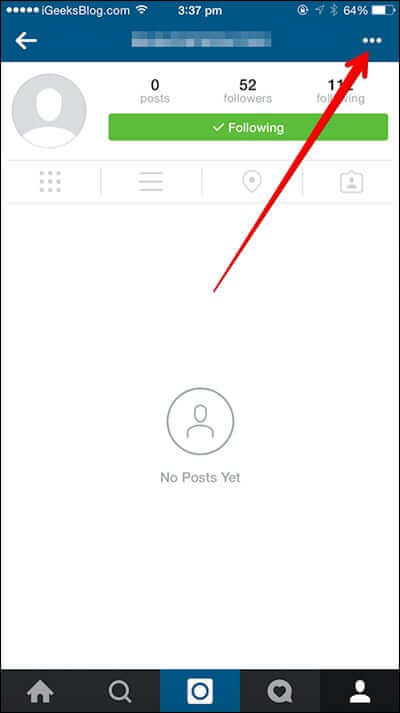 Tap on three dots from the top right corner in Instagram