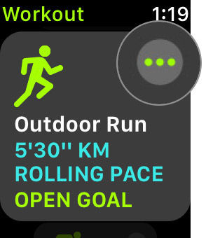 Tap on three dots next to Outdoor Run in Workout app on Apple Watch