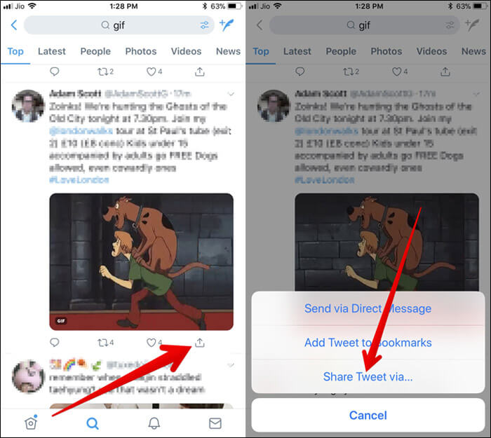 Tap on tiny downward arrow, select Share Tweet via in iPhone Twitter App