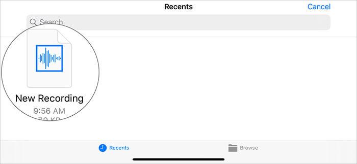 Tippen Sie auf den Sprachclip und berühren und halten Sie die Sprachnotiz in der GarageBand-App