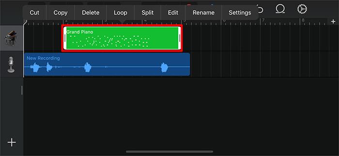 Tippen Sie zweimal auf die grüne Audio-Leiste und anschließend auf Löschen in der GarageBand-App auf dem iPhone