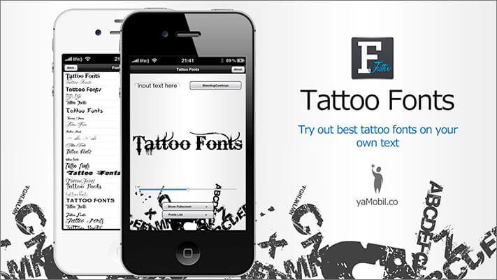 Tattoo Fonts Design iPhone and iPad App Screenshot