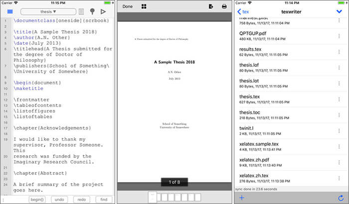 TeX Writer iPad App Screenshot