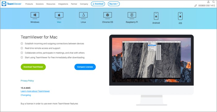 TeamViewer for Mac Screenshot