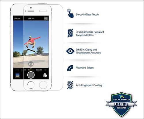 Tech Armor Ballistic Glass Screen Protector for iPhone SE