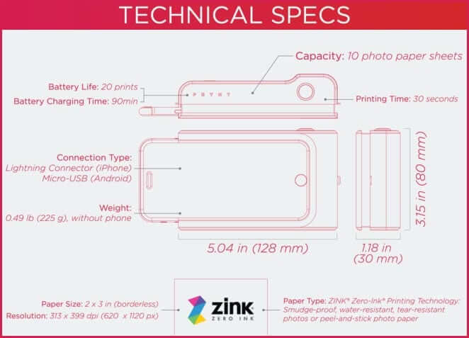 Technical Specifications of Prynt Case for iPhone 6, 5s