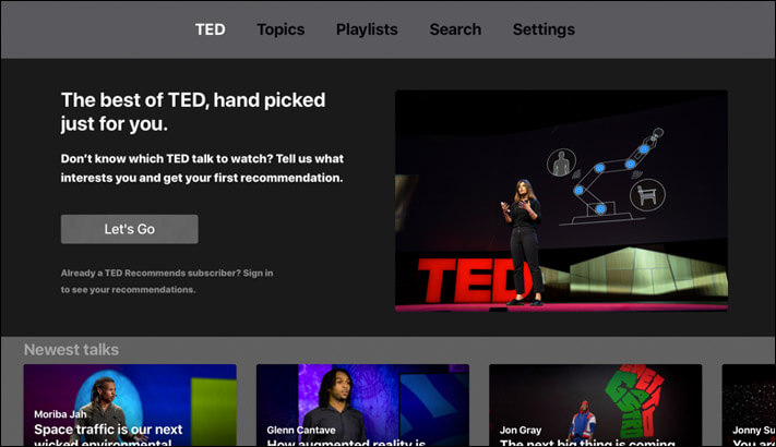 Ted Apple TV Learning App Screenshot