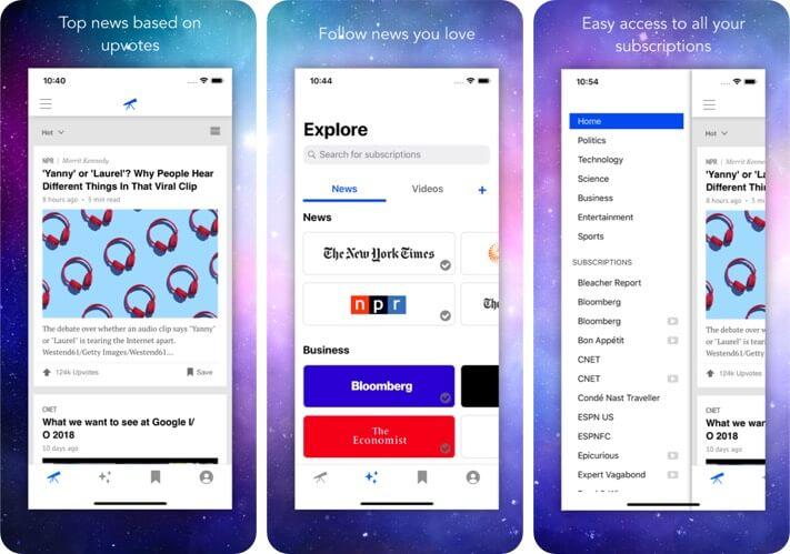 Telescope iPhone RSS Reader App Screenshot