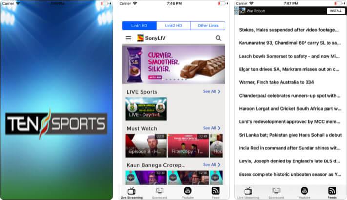 Ten Sports Live Streaming iPhone and iPad Cricket App Screenshot