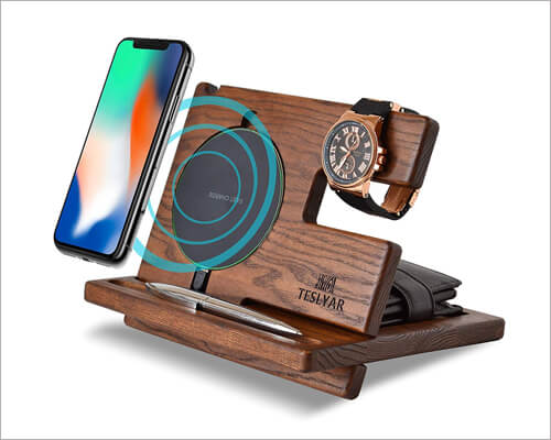 Teslyar Wooden Docking Station for iPhone 11, 11 Pro and 11 Pro Max