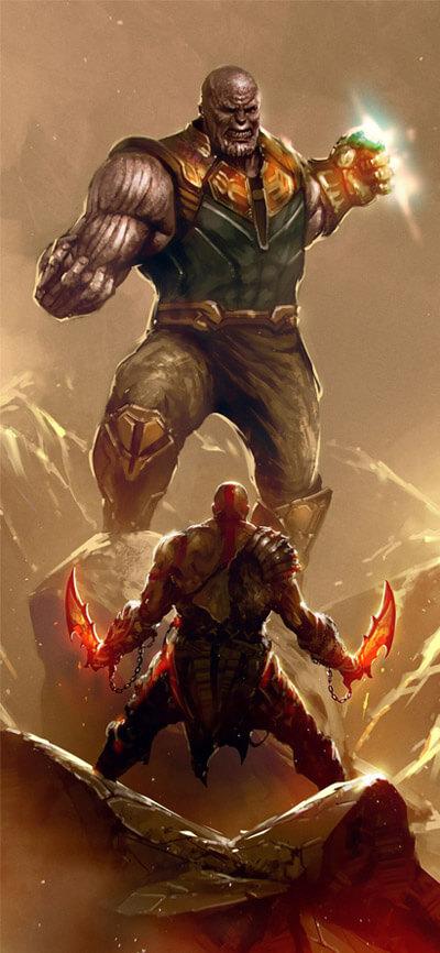 Thanos vs Kratos iPhone Wallpaper
