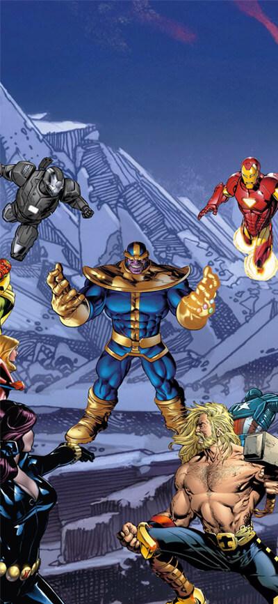 Thanos vs Superheroes iPhone Wallpaper