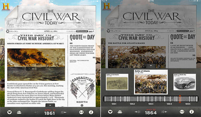 The Civil War Today iPhone and iPad App Screenshot