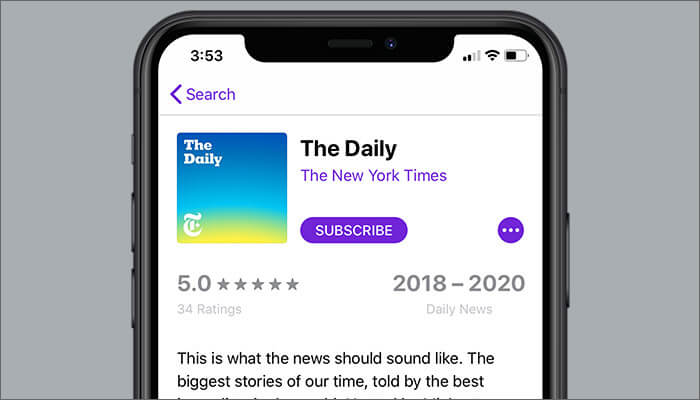 The Daily Podcast to Listen in Podcasts App on iPhone